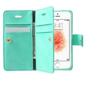 Extrarich PU kožené pouzdro na iPhone SE / 5s / 5 - azurové - 5