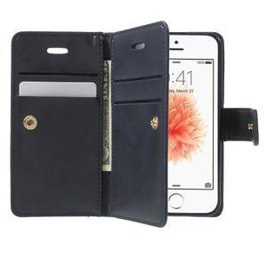 Extrarich PU kožené pouzdro na iPhone SE / 5s / 5 - tmavěmodré - 5