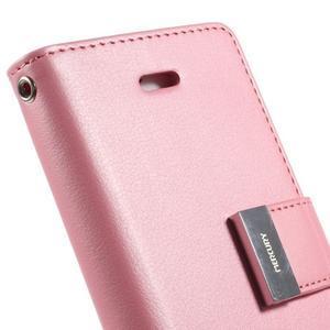 Rich diary PU kožené puzdro pre iPhone SE / 5s / 5 - ružové - 5