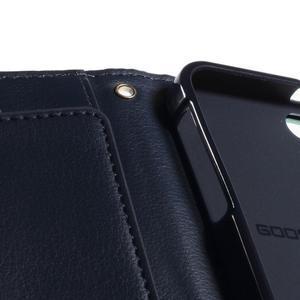 Rich diary PU kožené pouzdro na iPhone SE / 5s / 5 - azurové - 5