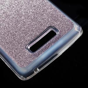 Povrchově třpytivý gelový obal na mobil Lenovo A2010 - fialový - 5