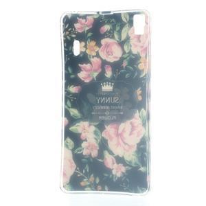 Kvetinový gélový obal pre mobil Lenovo A7000 / K3 Note - čierné pozadie - 5