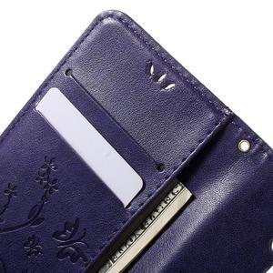Buttefly PU kožené puzdro pre mobil LG Leon - fialové - 5