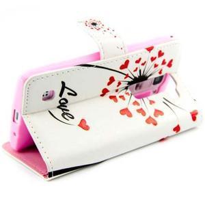 Peňaženkové PU kožené puzdro pre LG Leon - love - 5