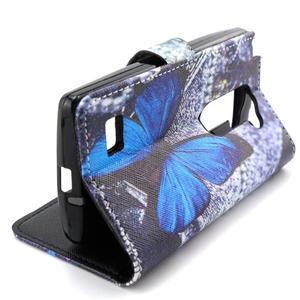 Style peňaženkové puzdro pre LG Leon - modrý motýľ - 5