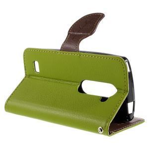 Leaf PU kožené pouzdro na mobil LG Leon - zelené - 5