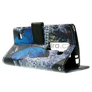 Peňaženkové puzdro na LG Spirit - modrý motýľ - 5