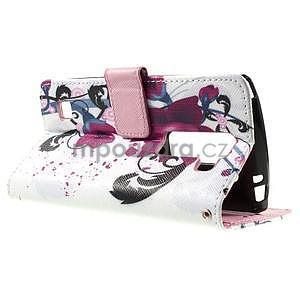 Peňaženkové puzdro na LG Spirit - fialové kvety - 5
