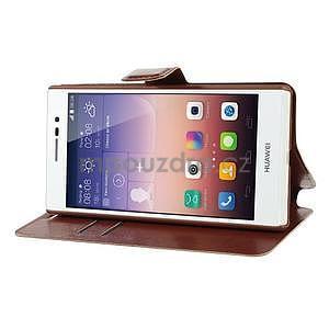 Peňaženkové puzdro pre Huawei Ascend P7 - hnedé - 5