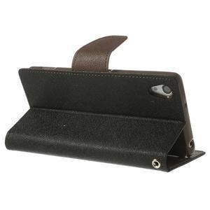 Fancy peněženkové pouzdro na Sony Xperia Z2 - černé/hnědé - 5