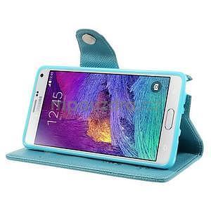 Zapínací peneženkové poudzro Samsung Galaxy Note 4 - svetlomodre - 5