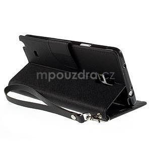 Stylové peňaženkové puzdro na Samsnug Galaxy Note 4 - čierne - 5