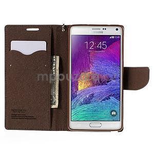 Stylové peňaženkové puzdro na Samsnug Galaxy Note 4 - čierne/hnedé - 5