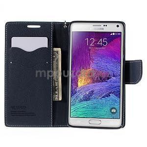 Stylové peňaženkové puzdro na Samsnug Galaxy Note 4 -  azurové - 5