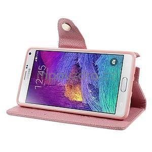 Zapínací peneženkové poudzro Samsung Galaxy Note 4 - ružové - 5