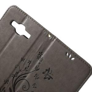 Butterfly PU kožené pouzdro na Samsung Galaxy Core Prime - šedé - 5