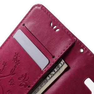 Butterfly PU kožené puzdro pre Samsung Galaxy Core Prime - rose - 5