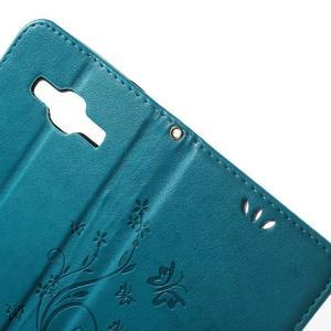 Butterfly PU kožené puzdro pre Samsung Galaxy Core Prime - modré - 5