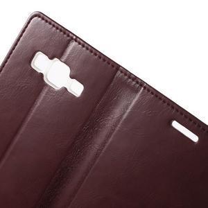 Moon PU kožené puzdro pre mobil Samsung Galaxy Core Prime - vínové - 5