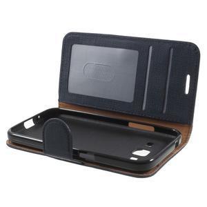 Clothy peněženkové pouzdro na Samsung Galaxy Core Prime - tmavěmodré - 5