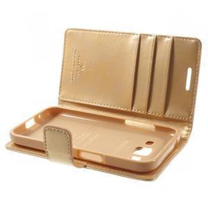 Moonleather PU kožené puzdro pre Samsung Galaxy Core Prime - zlaté - 5