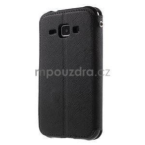 Kožené puzdro s okýnkem Samsung Galaxy J1 - čierné - 5