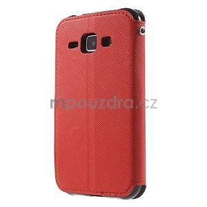 Kožené puzdro s okienkom Samsung Galaxy J1 - červené/čierné - 5