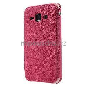 Kožené puzdro s okienkom Samsung Galaxy J1 - rose/ružové - 5