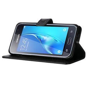 Magicfly PU kožené puzdro pre mobil Samsung Galaxy J1 (2016) - čierne - 5