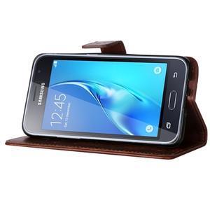 Magicfly PU kožené puzdro pre mobil Samsung Galaxy J1 (2016) - hnedé - 5
