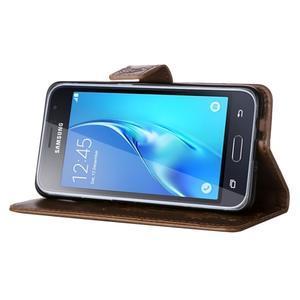 Magicfly PU kožené pouzdro na mobil Samsung Galaxy J1 (2016) - světlehnědé - 5