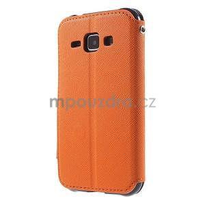 Kožené puzdro s okýnkem Samsung Galaxy J1 - oranžové/tmavě modré - 5