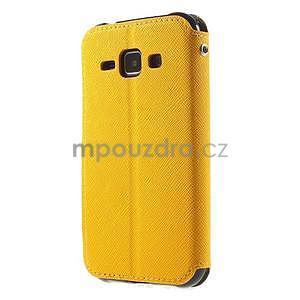 Kožené puzdro s okienkom Samsung Galaxy J1 - žlté/čierné - 5
