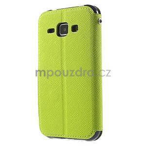 Kožené puzdro s okienkom Samsung Galaxy J1 - zelené/tmavo modré - 5
