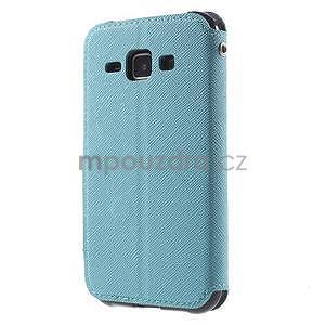 Kožené puzdro s okýnkem Samsung Galaxy J1 - světle modré/tmavě modré - 5