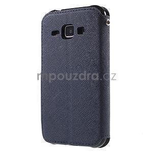 Kožené puzdro s okýnkem Samsung Galaxy J1 - tmavě modré/čierné - 5