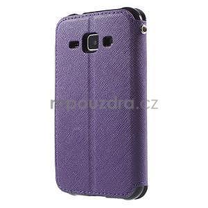 Kožené puzdro s okienkom Samsung Galaxy J1 - fialové/tmavo modré - 5