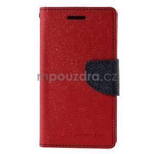 Červené/tmavě modré kožené puzdro na Samsung Galaxy J1 - 5