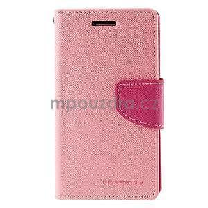 Růžové/rose kožené puzdro na Samsung Galaxy J1 - 5