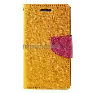 Žluté/rose kožené puzdro na Samsung Galaxy J1 - 5