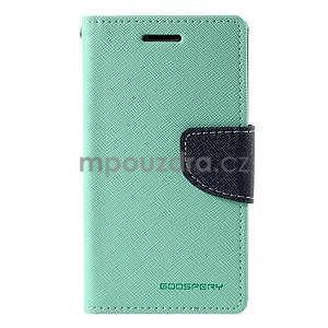 Azurové/tmavě modré kožené puzdro na Samsung Galaxy J1 - 5