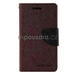 hnedé/čierné kožené puzdro na Samsung Galaxy J1 - 5