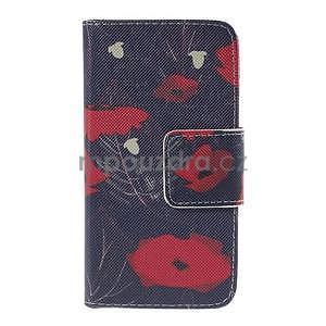 Zapínací puzdro pre Samsung Galaxy J1 - červená květina - 5