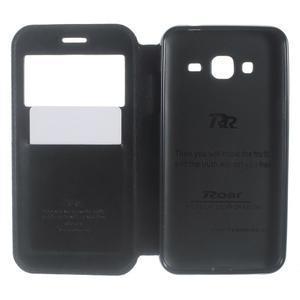 Peňaženkové PU kožené puzdro s okienkom pre Samsung Galaxy J3 (2016) - čierne - 5