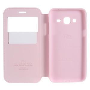 Peňaženkové PU kožené puzdro s okienkom pre Samsung Galaxy J3 (2016) - ružové - 5