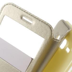 Peňaženkové PU kožené puzdro s okienkom pre Samsung Galaxy J3 (2016) - zlaté - 5