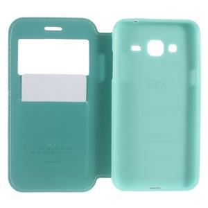 Peněženkové PU kožené pouzdro s okýnkem na Samsung Galaxy J3 (2016) - modrozelené - 5