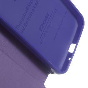 Peňaženkové PU kožené puzdro s okienkom pre Samsung Galaxy J3 (2016) - fialové - 5