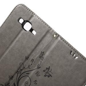 Butterfly PU kožené puzdro pre Samsung Galaxy J5 - šedé - 5