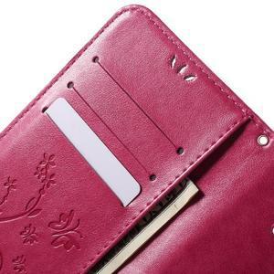 Butterfly PU kožené puzdro pre Samsung Galaxy J5 - rose - 5